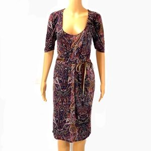ZARA paisley dress with velvet belting